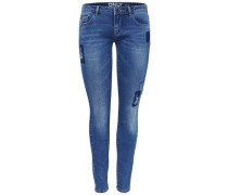 Skinny Fit Jeans Coral patch superlow blau