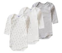 3er-Pack Bodys für Jungen graumeliert / weiß