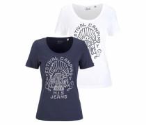 H.i.s T-Shirt marine / weiß