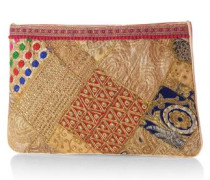 Clutch im trendigen Muster camel / gold