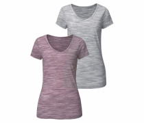 T-Shirts (2 Stck.) grau / lila