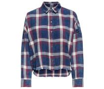 Detailreiches Langarmhemd blue denim / karminrot / naturweiß
