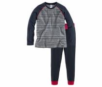 Langer Pyjama 'Navy Ethno' navy / graumeliert / rot