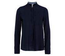 Struktur-Bluse mit Stehkragen blau