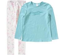 Schlafanzug für Mädchen beige / blau / jade