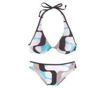 Bügel-Bikini beige / blau / braun / weiß