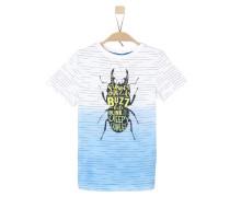 T-Shirt mit Insekten-Print hellblau / weiß