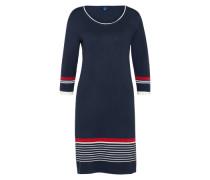 Kleid mit Streifen-Details navy / weinrot / offwhite
