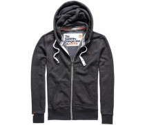 Kapuzensweatjacke 'orange Label Ziphood' graumeliert