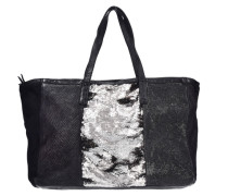 Shopper Tasche Leder 37 cm schwarz / silber