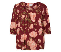 Blumenprint-Bluse mit 3/4 Ärmeln rosa / dunkelrot