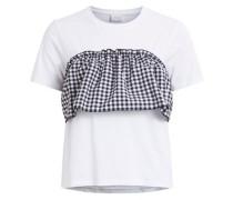 Brustdetail-T-Shirt 'vibolina' schwarz / weiß