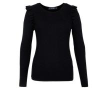 Strukturstrick-Pullover mit Rüsche schwarz