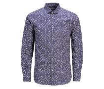 Langarmhemd dunkelblau / weiß