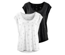 T-Shirts (2 Stück) silbergrau / schwarz / weiß