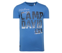 T-Shirt mit Photoprint Logo blau