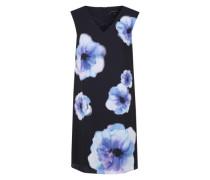 Chiffonkleid mit floralem Allover-Print nachtblau / cyanblau