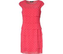 Chiffonkleid mit Allover-Muster pink / weiß