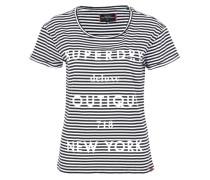 Printshirt mit Glitzerschriftzug schwarz / weiß