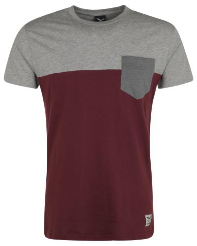 T-Shirt graumeliert / merlot
