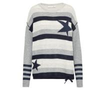 Streifen-Pullover dunkelblau / grau