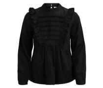 Rüschendetail-Bluse schwarz