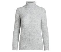Gestrickter Stehkragen-Pullover grau