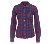 Langarmhemd blau / bordeaux
