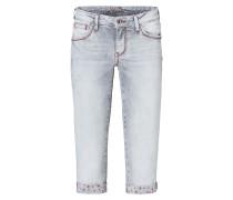 Jeans 'Romy' hellgrau / dunkelrot
