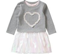 Kinder Jerseykleid mit Organza-Rock grau