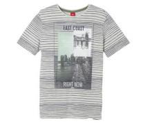 Streifenshirt mit Print-Collage grau