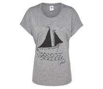 T-Shirt mit Frontprint graumeliert
