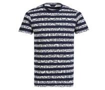 Bedrucktes T-Shirt blau / weiß