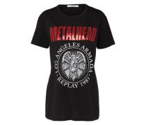 TShirt 'metalhead' rot / schwarz / weiß