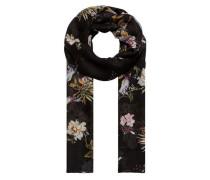 Schal mit Asia-Print schwarz