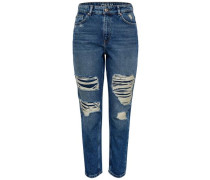 Straight Fit Jeans Mom Ankle blue denim