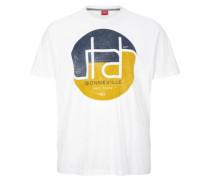 T-Shirt mit rundem Print navy / senf / weiß