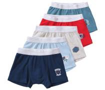 5er-Pack Boxershorts für Jungen blau / navy / hellblau / hellgrau / hellrot