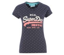 Printshirt mit Glitzer blau