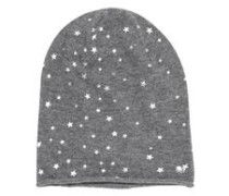 Strickmütze mit Sternchen-Print grau / weiß