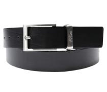 Ledergürtel mit glänzender Schließe schwarz