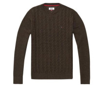 Hilfiger Denim Pullover »Thdm Basic Cable CN Sweater 28« braun / khaki