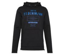 Sweatshirt 'hoody w. print and zipdetails' blau / schwarz