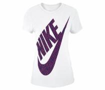 T-Shirt »Cotton Short Sleeve Vneck BM Youth« lila / weiß