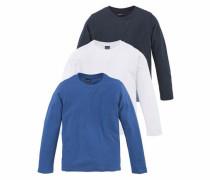 Langarmshirt blau / nachtblau / weiß