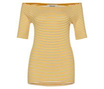 Off Shoulder Shirt 'Krown Stripe' goldgelb / weiß