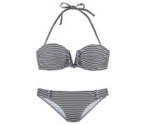 Bandeau-Bikini schwarz / weiß