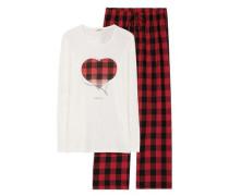 Schlafanzug 'Daisy' rot / naturweiß