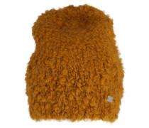 Mütze aus Schlaufenstrick safran