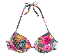 Push-Up-Bikini-Top gelb / grau / pink